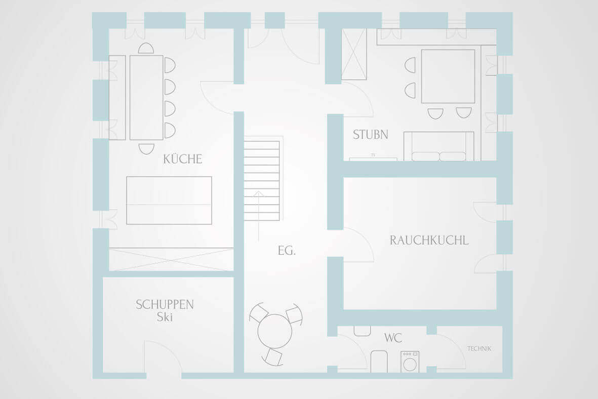 map of the Alps chalet ground floor